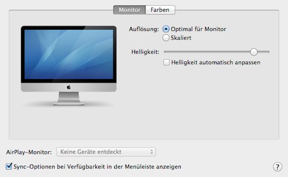 Airplay in den Systemeinstellungen Monitor