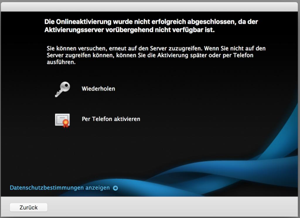 Aktivierungsserver ist vorübergehend nicht verfügbar - Microsoft Office 2011 für Mac auf anderen Rechner mit Lizenz umziehen