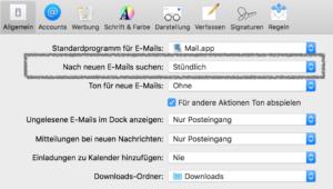 Apple Mail: nicht neue Mails bei aktivem Fenster abfragen