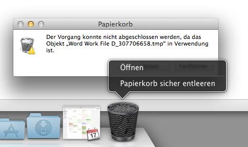 Mac Papierkorb lässt sich nicht löschen
