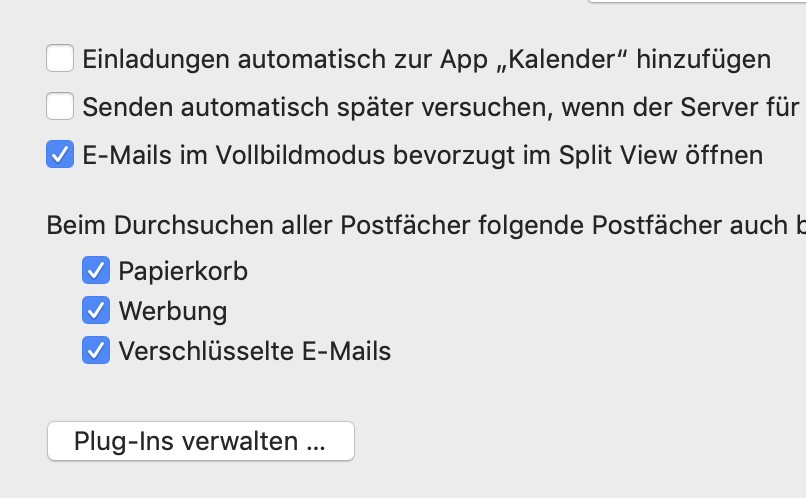 Apple Mail Ordner von der Suche ausschließen