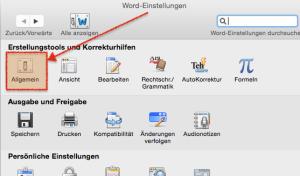 Einstellungen in MS Word (Mac)
